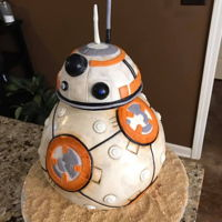 Star Wars Bb8 This bb8 replica cake was 100% edible and made from chocolate fudge cake, milk chocolate ganache, and covered in fondant. All details were...