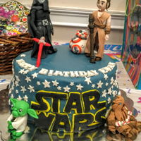 Star Wars Cake I made this Star Wars cake for my nephews 5th birthday. It was fun because I made the characters one by one in the weeks before. I used gum...