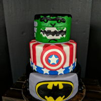 Superheroes Batman, Captain America, and Hulk birthday cake.