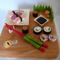 Sushi Cake I made this cake for a sushi lover! Decorations and sushis are all edible fondant and pearl candy. The soya sauce is chocolate jelly. I...