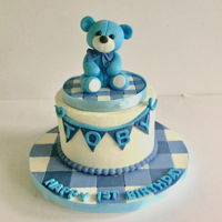 Teddy Bear Smash Cake Buttercream smash cake w/ fondant sculpted teddy bear topper