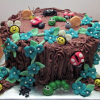 Tree Stump With Candy Clay Bugs Chocolate on chocolate cake with homemade chocolate buttercream. Bugs and leaves are candy clay.