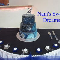 "Twinkle Starry Night Quinceanera cake matched the girls dress, I airbrushed it and sprinkled twinkle dust and then added ""stars"""