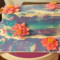 Water Color Cake Water color cake with pink water lily