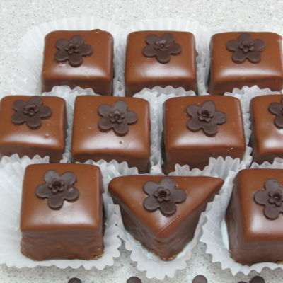 Chocolate Petit Fours With Modeling Chocolate Decoration