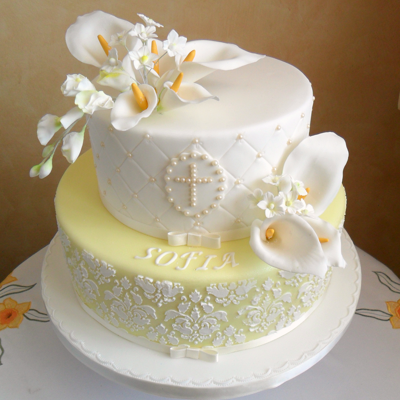 Damask Stencil Cake With Calle Lily This is the cake for the First Communion of my granddaughter