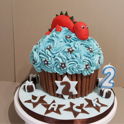 Dinosaur Giant Cupcake For A Huddersfield Customer. Dinosaur giant cupcake for a Huddersfield Customer.