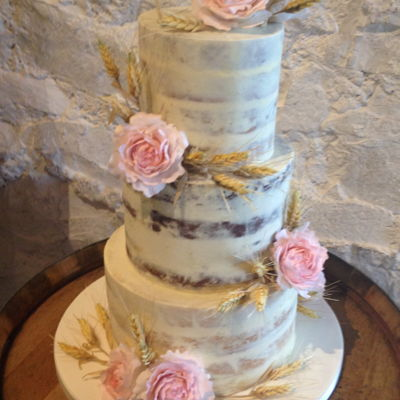 Dirty Iced Wedding Cake Naked wedding cake. The cake flavours were classic vanilla, chocolate cookie dough and white chocolate and raspberry, covered in white...