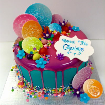 Fondant Drip Cake With Hand Painted Mandalas Drip cake over airbrushed fondant with handpainted mandalas