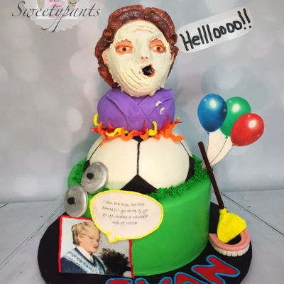 Mrs Doubtfire Inspired Birthday Cake Pie in the Facebook scene, Mrs Doubtfire birthday cake. Bust is made from rice cereal. The rest is cake, covered in SMB and marshmallow...