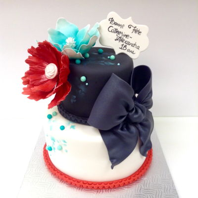 Red, Turquoise And Blue Birthday Cake 2 tiers birthday cake, satin ice fondant, magnolia made of satin ice gumpaste