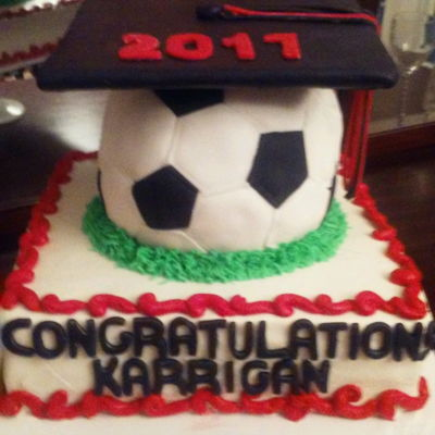 "Soccer Ball Graduation Cake Used a 10"" square cake and a ball cake pan. Hat was just a cake board and fondant."