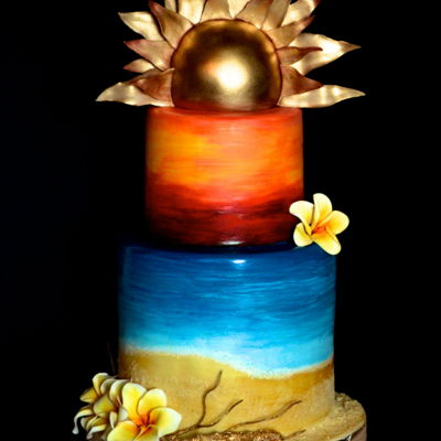 Summer Time Beach inspired summer cake with a golden sunset