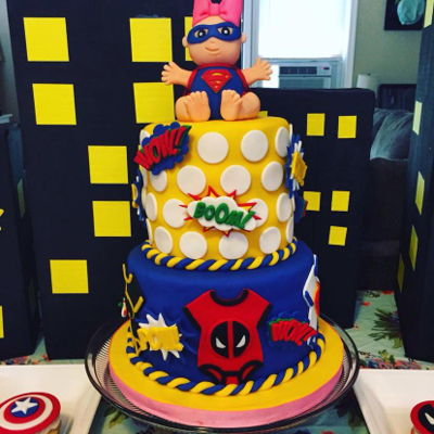 Super Hero Baby Shower Cake And Cupcakes My first try at a tiered and fondant decorated cake! Plus cupcake toppers!