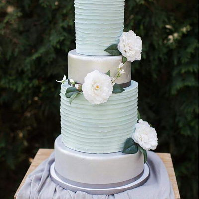 "Tall Wedding Cake This crazy tall cake is 6"" - 8"" - 10"" - 12"" rounds. The crazy tall tiers are double barrel tiers. Painted in silver and..."
