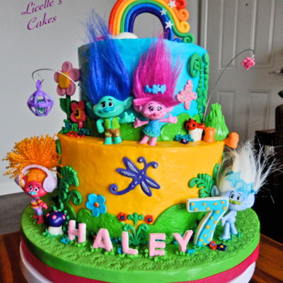 Trolls Themed Cake Store bought figurines and all MMF decorations. ( Fuzzbert is MMF too) Yes, it took a long time to colour up the MMF