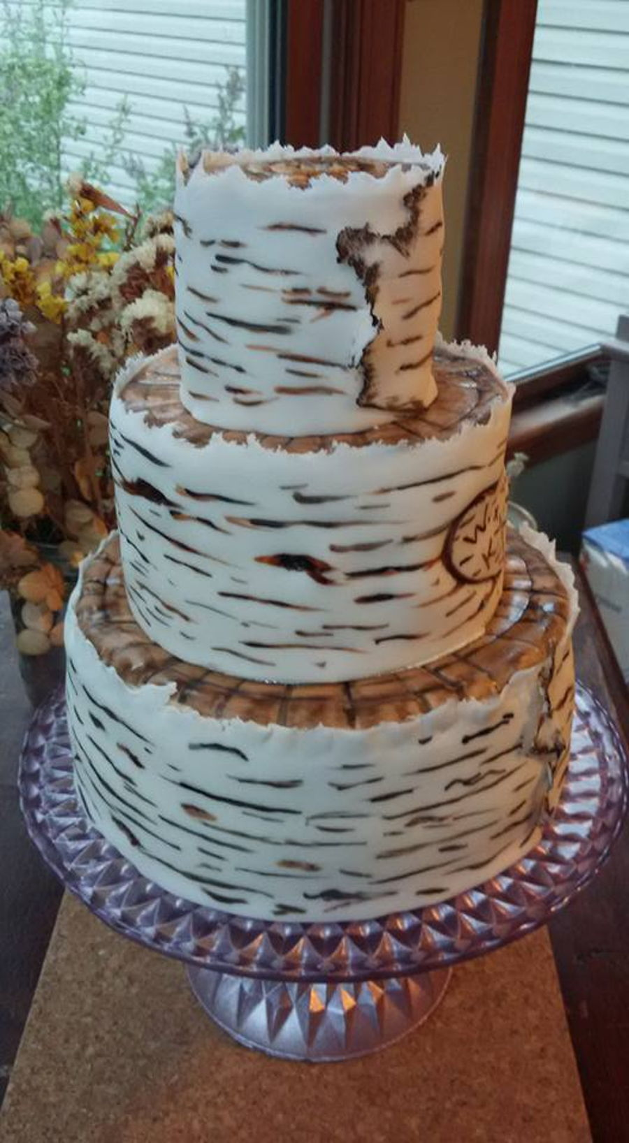 birch bark wedding cake tutorial birch bark wedding cake cakecentral 11765