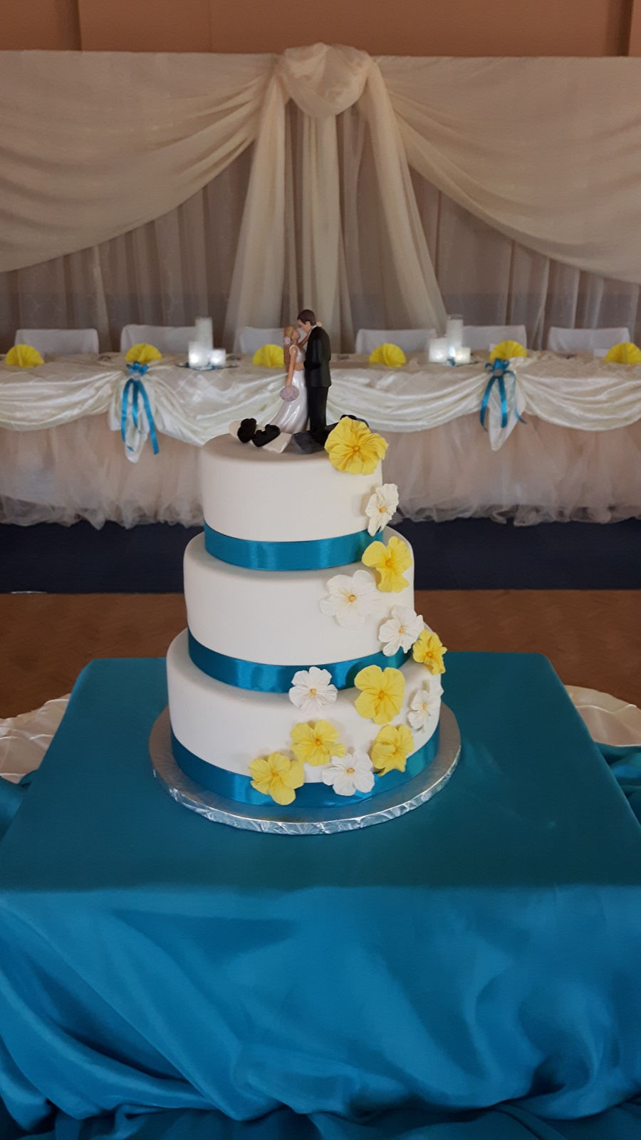 yellow and blue wedding cakes blue and yellow wedding cake cakecentral 27684