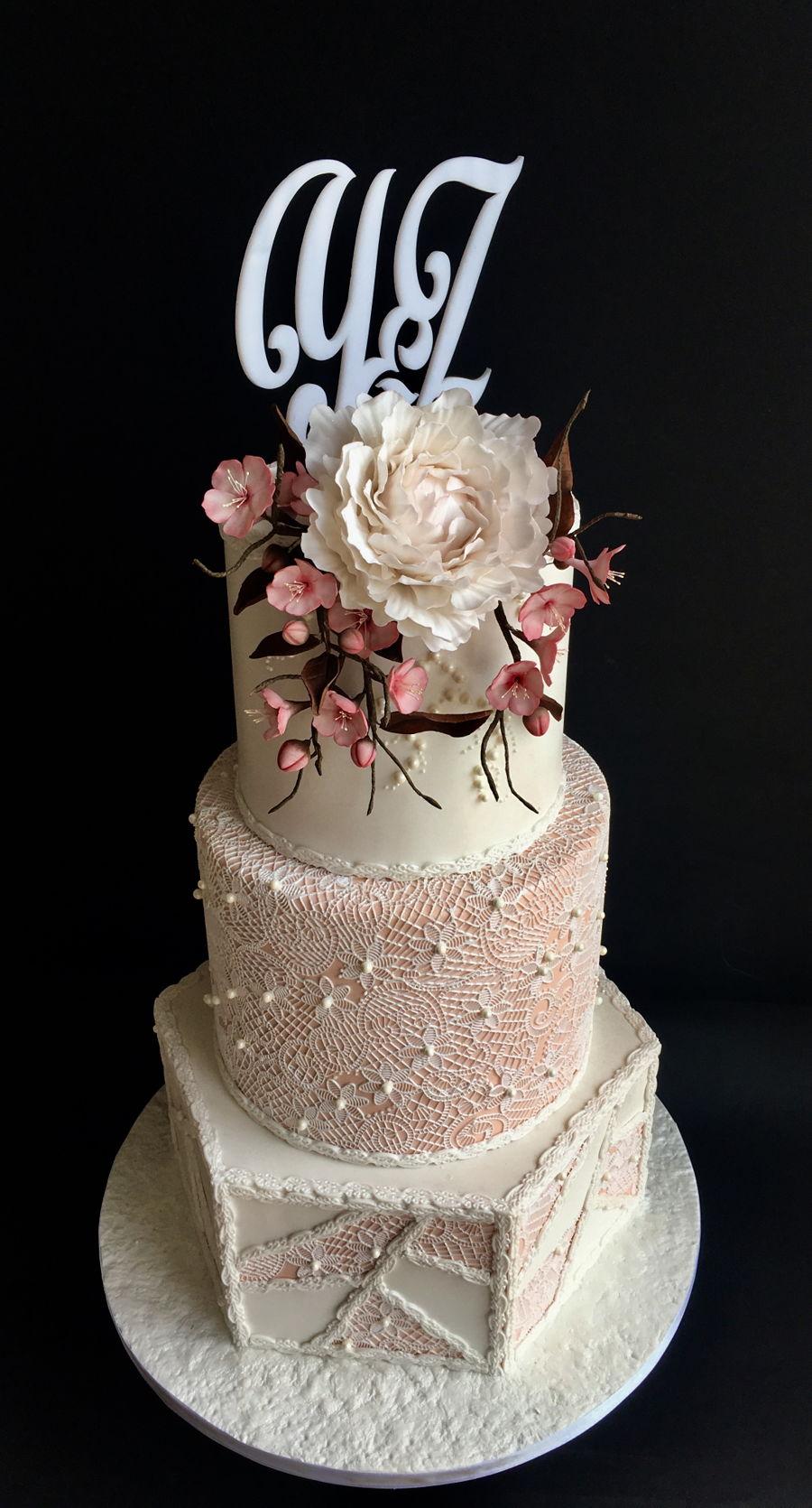 Cherry Blossom Wedding Cake - CakeCentral.com