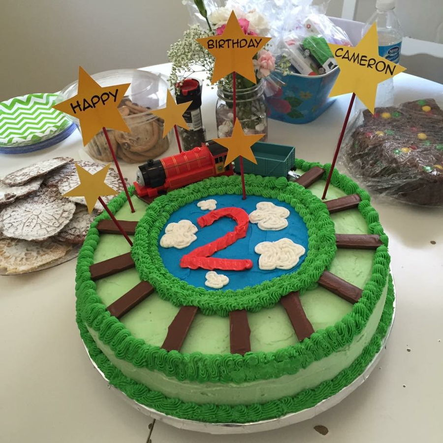 Fine Godsons 2Nd Birthday Train Cake Cakecentral Com Funny Birthday Cards Online Inifodamsfinfo