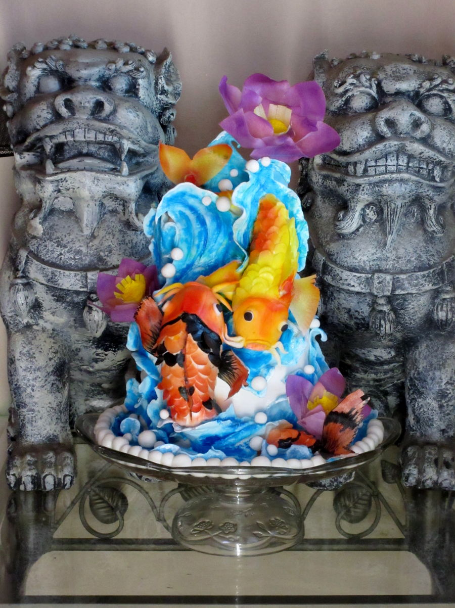 Koi Fish And Lotus on Cake Central
