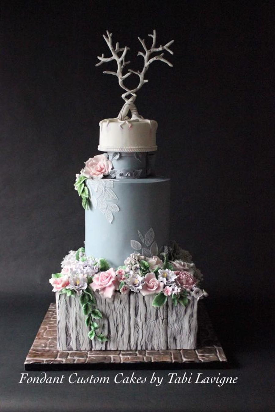 Rustic Floral Wedding Cake on Cake Central