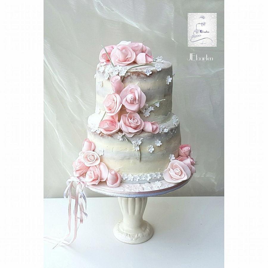 Naked Wedding. Seminaked Wedding Cake With Edible Gold Leaf And ...