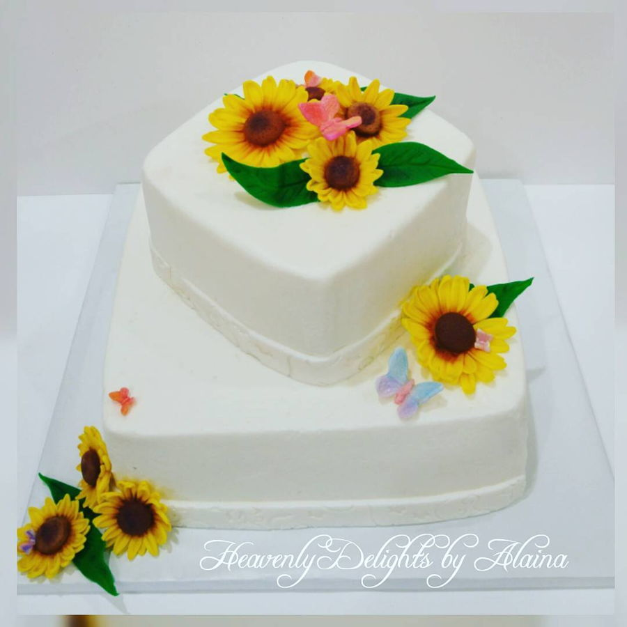 sunflowers and butterflies bridal shower cake on cake central