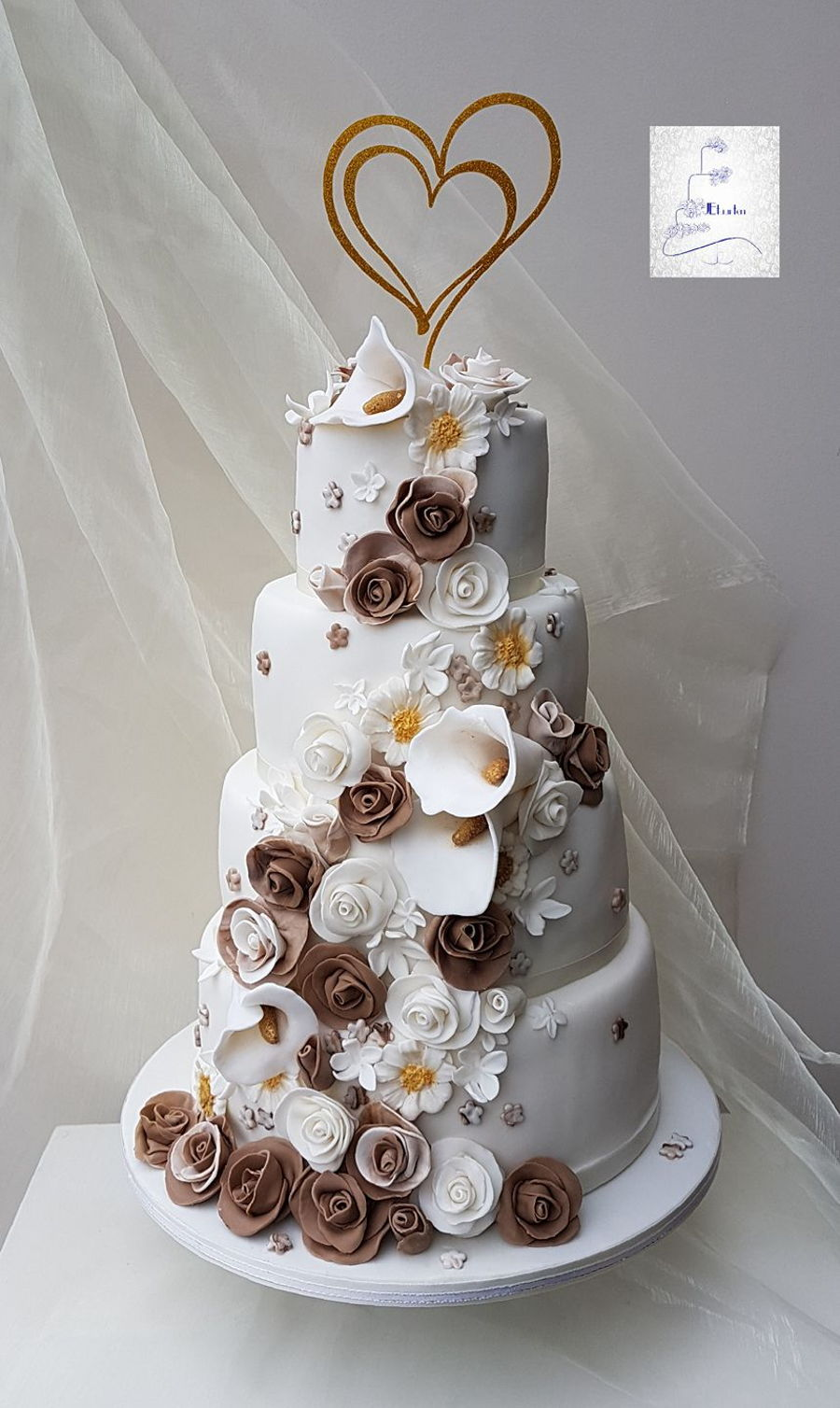brown and white wedding cake wedding cake in brown and white cakecentral 12189
