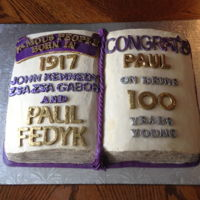 100Th Birthday Cake open book cake iced with buttercream icing and fondant lettering