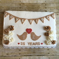 1/2 Sheet Cake They wanted a vintage - shabby chic theme for their anniversary