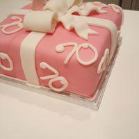 70Th Present Cake Present Cake with Bow