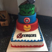 Avengers Birthday Cake Buttercream frosted avengers cake. Iron mans face and the captain america shields are fondant. thors hammer is rice krispy treat covered in...