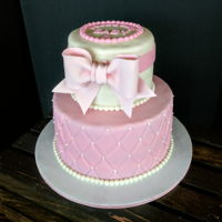 Baby Shower Cake Pink, bows, and pearls!!