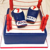 "Boxing Ring Cake Chocolate 10"" boxing ring, RKT boxing gloves and strawberry laces for ropes"