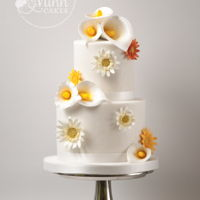 Calla Lily Wedding Cake Very small wedding cake for an intimate reception with handmade callas and gerbera flowers.