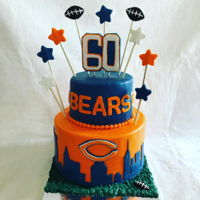 Chicago Bears Fan For Life All edible.German Chocolate Cake w/ Chocolate Frosting and chocolate ganache