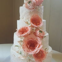 Coral And Mint Wedding Cake For my son's wedding - to the most perfect daughter-in-law I might add!! Her colors were mint and coral. The flowers I was going for...