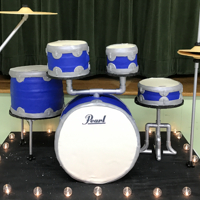 Drum Set Cake This was a cake for my sons graduation and going away to the military party. It is 4 cakes and a dummy cake for the bass drum....