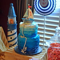 Duke's 1St Birthday Cake Nautical theme cake with gum paste sailboat and anchor.