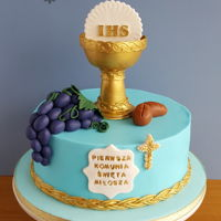 First Communion Cake In Blue And Gold First communion cake
