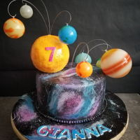 Galaxy Cake Galaxy cake I made for my daughter's birthday. Hand painted. The sun is all cake