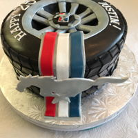 Great Cake For The Ford Mustang Car Owner All Fondant. Cake was German Chocolate w/ Chocolate Ganache.
