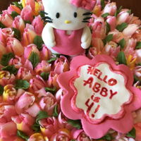 Hello Kitty In Flowers For A Four Year Old Fondant Hello Kitty in a field of buttercream flowers.