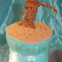 I Am Groot Groot from Guardians of the Galaxy done in gumpaste. Wonky flower pot cake with buttercream and fondant.