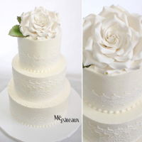 Lace Wedding Cake buttercream cake with lace and giant sugar rose.