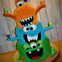 Monsters Cake Chocolate mud cake coated with ganache and topped with buttercream