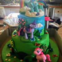 My Little Pony Rainbow Dash Cake Bottom layer is a six layer rainbow vanilla cake top layer is chocolate cake. Homemade fondant on cake with gumpaste decorations and ponies...