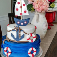 Nautical Birthday Cake everything is edible including the sailboat