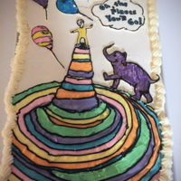 """oh The Places You'll Go"" Pull Apart Cupcake Cake This is a cupcake cake I made for my daughters pre k graduation tomorrow. 6x4 vanilla cupcakes with vanilla frosting. The stripes are done..."